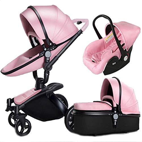 Cochecito de corticosteres, amortiguador bidireccional de alta visión, para cochecito de bebé, puede sentarse en el coche, 3 en 1 rosa, large