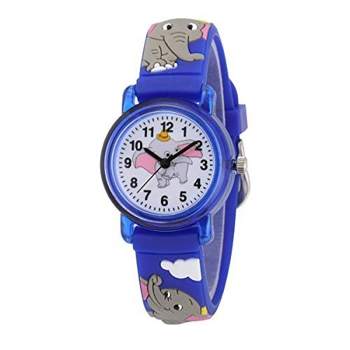 Jewtme Cute Toddler Children Kids Watches Ages 3-8 Analog Time Teacher 3D Silicone Band Cartoon Watch for Little Girls Boys (Elephant Blue)