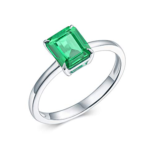 AnazoZ Silver Green Engagement Band for Women,White Gold 18K Engagement Ring Rectangle 4 Prong 0.75ct Asscher Cut Emerald Ring Size Q 1/2