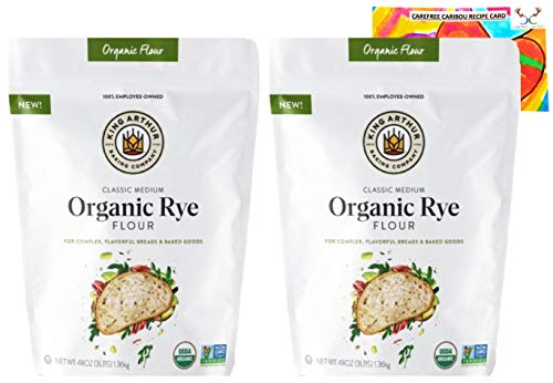 Organic Rye Flour Bundle. Includes Two (2) 48oz Packages of King Arthur Medium Organic Rye Flour and One Authentic Carefree Caribou Rye Flour Chocolate Chip Cookie Recipe Card!
