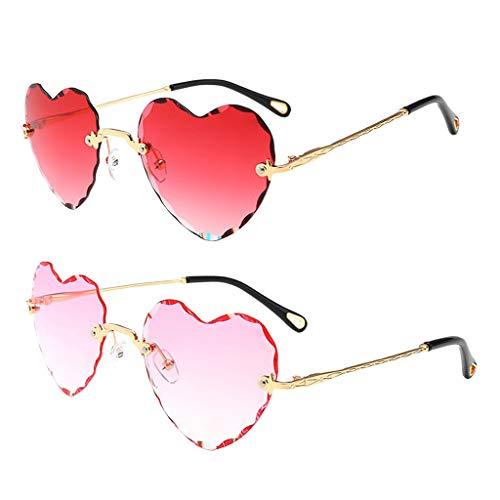 Harilla Gafas de Sol con Montura de Corazón para Mujer Vintage de 2 Piezas Gafas con Lentes Teñidas Retro