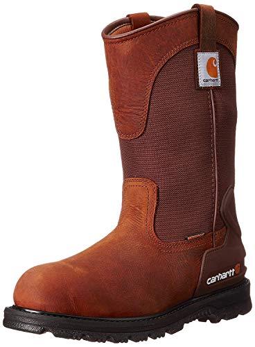 "Carhartt Men's 11"" Wellington Waterproof Soft Toe Pull-On Leather Work Boot CMP1100 Construction Shoe, Bison Brown Oil Tan"