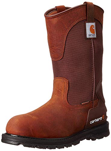 "Carhartt Men's 11"" Wellington Waterproof Soft Toe Pull-On Leather Work Boot CMP1100 Construction Shoe, Bison Brown Oil Tan"