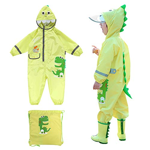 Kids Rain Suit,Dinosaur Toddler Raincoat Wear Coverall Jacket Baby Outfit (S, Green)