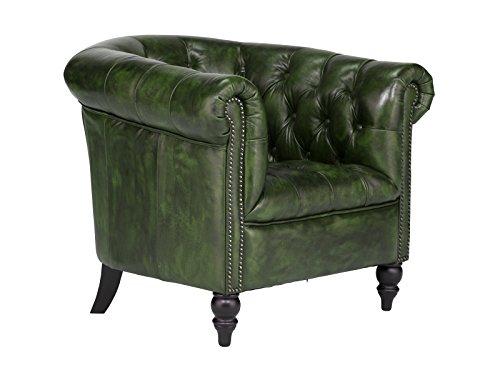 massivum Sessel Chesterfield 87x75x85 cm Echtleder grün