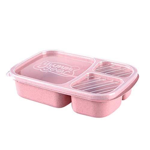 Bento Box Lunchbox Brotdose Kinder mit 3 Fächern - Kinder Lunchbox 100% Geeignet für Mikrowelle, Gefrierschrank und Geschirrspüler, Ohne BPA für Schule, Picknick, Ausflug (Rosa)