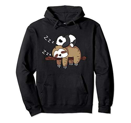 Netter Panda Schlafen auf Faultier Design Faultier Pullover Hoodie