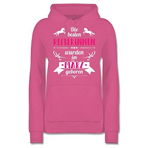 Geburtstag - Die besten Reiterinnen wurden im März geboren - L - Rosa - JH001F_Hoodie_Damen - JH001F - Damen Hoodie und Kapuzenpullover für Frauen