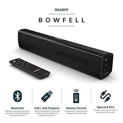 Majority Bowfell Compact 2.1 Soundbar 50W TV Bluetooth PC Black from Majority