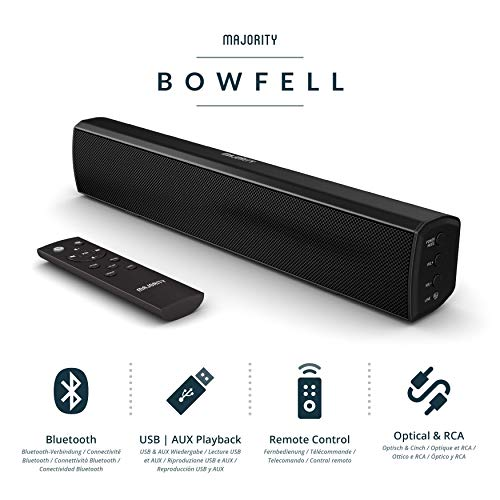 Majority Bowfell Compact 2.1 Soundbar with Optical, AUX + RCA USB Playback...
