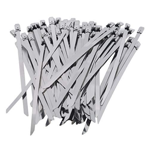 Kingus 100 STK. Edelstahl Metall Kabelbinder Auspuff Wrap Coated Locking Zip Ties,4,6 * 150 mm