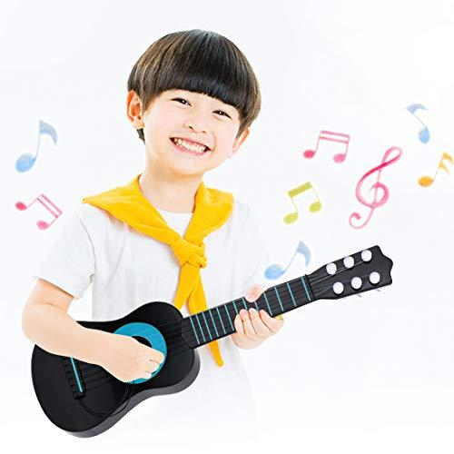 WEY&FLY Kinder Spielzeug Gitarre, 6 Saiten erste Musikinstrument, Pädagogisches Lernspielzeug für Anfänger Mädchen Jungen Geburtstag Weihnachten, fördert Musikfähigkeit (Schwarz/Blau)