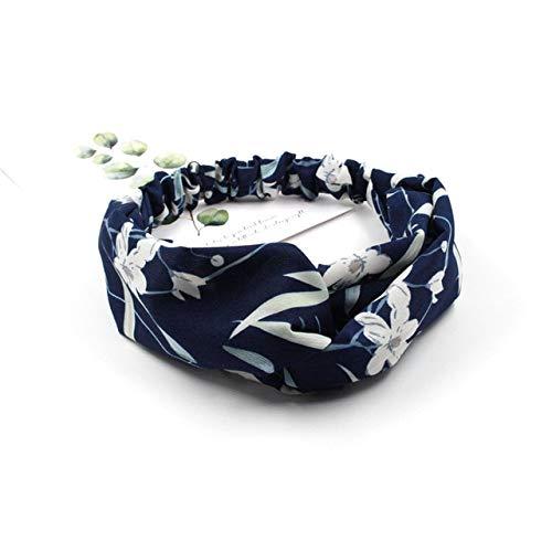 KUKUJII Haarband Kopfschmuck Frauen Trendy Frühling Sommer Chiffon Stirnbänder Cartoon Blumendruck Breite Bänder Turban Headwear Headwrap Hair Accessoriesr