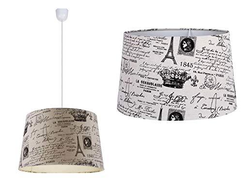 Lámpara de techo para dormitorio de tela, retro, lámpara de comedor, pantalla de tela, lámpara de cocina, lámpara de techo, 40 cm, altura 122 cm
