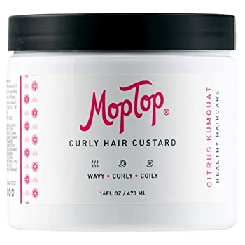 MopTop Curly Hair Custard Gel for Fine Thick Wavy Curly & Kinky-Coily Natural hair Anti Frizz Curl Moisturizer Definer & Lightweight Curl Activator w/ Aloe great for Dry Hair 16 oz.