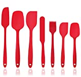 Silicone Spatula Set - 7-Piece Spatulas Silicone Heat Resistant & Non-Stick, for Cooking, Baking and Mixing - With Stainless Steel Core (Red)