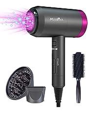 MuseDiva Secador de pelo profesional 1800W ligero iónico secador de pelo con difusor y concentrador para mujeres hombres peinados
