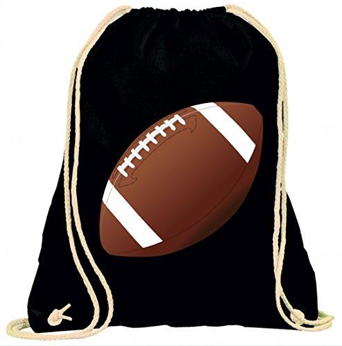 Druckerlebnis24 Turnbeutel FUßBALL- Kugel- FUßBALL Ball- Ei- Sport- Football- American Sports mit Kordel - 100% Baumwolle- Gymbag- Rucksack- Sportbeutel