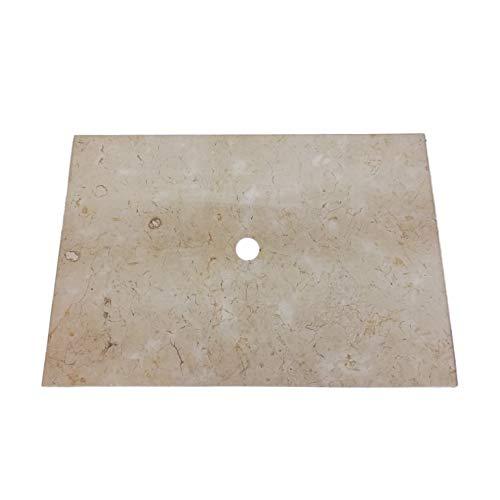wohnfreuden Marmor Waschtisch-Platte Kathrin 80x55x3 cm Creme Hochglanz poliert ✓ Naturstein-Platte für Waschbecken