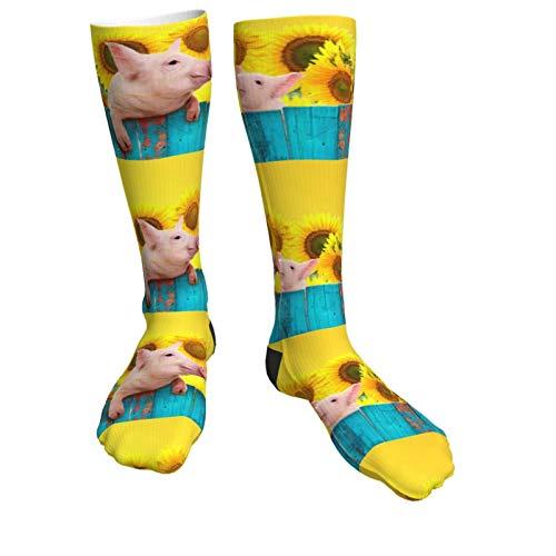Lustige Schweine hängen an einem Zaun und Sonnenblumen, Unisex, atmungsaktiv, modische Quarter-Socken, Wochenend-Lounge, kurze Crew-Socken für Herren und Damen, Sportsocken für Laufen