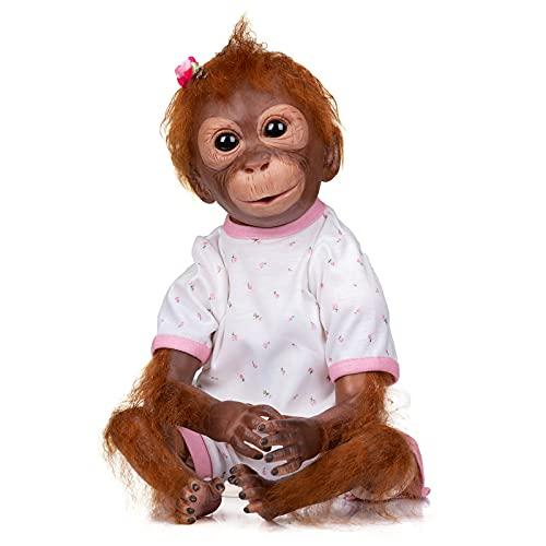 iCradle Muñecas Reborn Mono Reborn 21 Inch Silicona Muñeca 52cm Mono Reborn Muñeca Parece Realista Precioso Mono de Piel Juguete de colección Reborn Silicona Cuerpo Completo