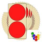 30 x 100mm 10 cm rund farbig leicht abziehbar selbstklebende Punkte Aufkleber für Farbcodierung Kalender - 12 Farben - 15 Blatt Klebepunkte rot