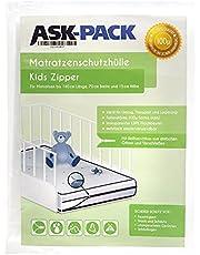 ASK Pack Premium skyddspåse för barnmadrasser (3.generation) med DRAGKEDJA, för en 70 cm bred / 140 cm lång / upp till 15 cm tjock madrass - extra kraftig 100 µ