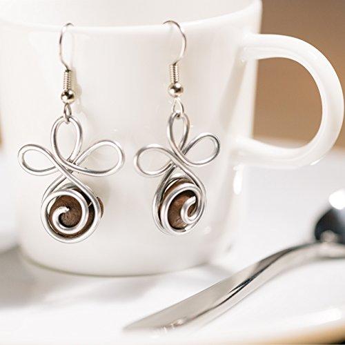 Fair Trade Handmade Coffee Bean Earrings, Artisan Jewelry Made with Real Coffee Beans