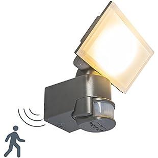 QAZQA Modern Suspense Spotlight LED Dark Grey Square Includes LED (Non Replaceable) led Max. 1 x 20 Watt/Outdoor / Garden Lighting/Lights / Lamps:Carsblog
