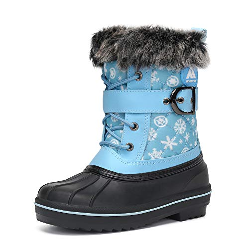 Mishansha Girl's Boy's Winter Snow Boots Waterproof Outdoor Skiing Walking Non-Slip Fur Lined Kid's Warm Ankle Boots Sky Blue Toddler 9