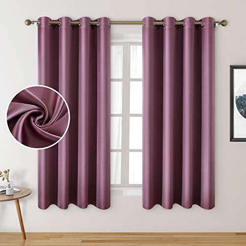 HOMEIDEAS 2 Panels Faux Silk Curtains Lavender Pink Blackout Curtains 52 X 63 Inch Dry Rose Room Darkening Satin Curtains for Bedroom, Thermal Insulated Window Curtains for Kids' Room