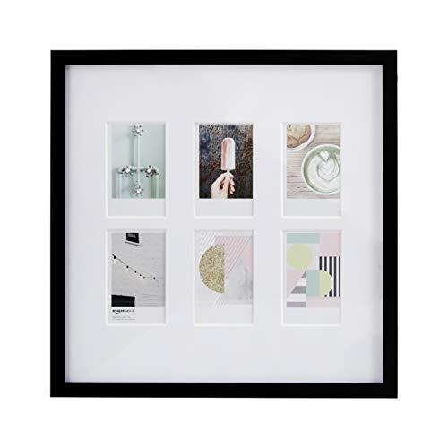 Amazon Basics - Marco de fotos de Instax, 6 huecos, 8 x 5 cm, color negro