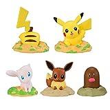 Holiny 5 Piezas Cápsula Gashapon Pokemon Figuras De Acción Muñecas Pikachu Diglett Mew Eevee Anime Figura Modelo Juguetes Lindos Regalos para Niños