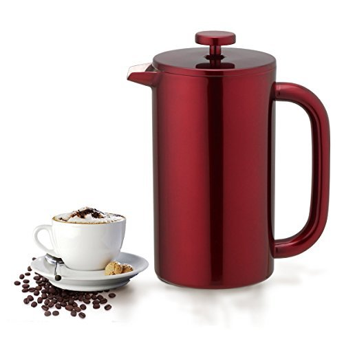 Highwin French Press - Double Wall Insulated Stainless Steel Coffee Press Maker Plunger (Red)