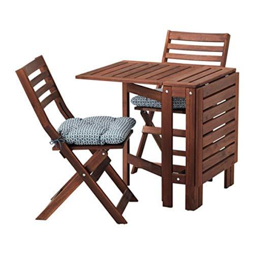 IKEA Applaro Mesa y 2 Sillas plegables al aire libre Marrón manchado Ytterön Azul 591.835.64