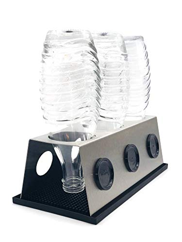 3er Abtropfhalter aus Edelstahl für z.B. Sodastream Crystal/Source/Easy/Cool Flaschen Flaschenhalter wählbar mit/ohne Abtropfmatte Abtropfschale