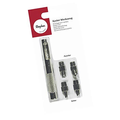 Rayher Hobby 7845300 Eyelet Werkzeug Set, Griff 4 Aufsätze (2 Setter und 2 Puncher), für alle gängigen Eyelets/Ösen geeignet, Lochstanzer Eyeletsetzer