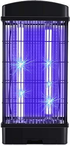 Deckey Matamoscas eléctrico con cepillo de limpieza, lámpara UV para dormitorio, salón, habitación infantil y jardín, color negro