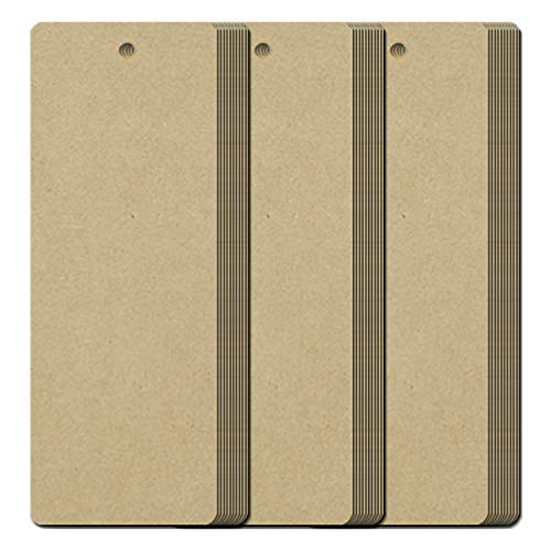 Teemico 96 Pcs Kraft Paper Blank Cardstock Bookmarks with Hole for String or Tassel for DIY Projects and Gifts Tags, White, 5.5 by 2 inch (Brown)