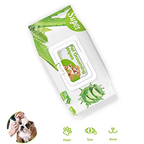 Pet Wipes for Dogs and Cats, Aloe Natural Dog Wipes, Effective Cat Wipes Grooming Wipes for Paws, Body, Corner of Eye and Butt Friendly Deodorizing Wipes