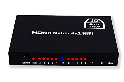 Read About HDMI Matrix HDMI Switch HDMI Four In Two Out HD Video Splitter 4X2 Support 4k2k 3D