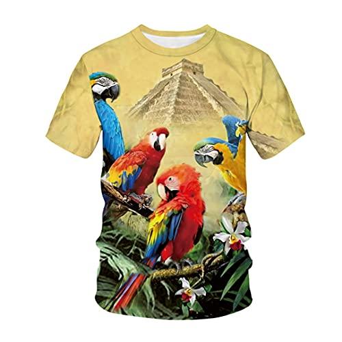New Little Bird/Parrot T Shirt 3D Print Streetwear O-Cuello de Manga Corta T Shirts Picture Color4 4XL