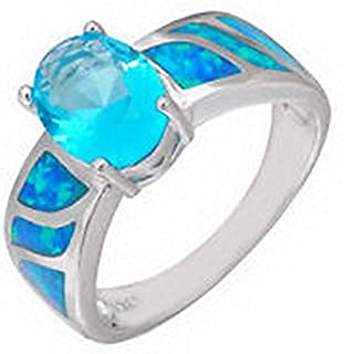 jacob alex ring Aquamarine Sapphire Blue Fire Opal Wedding Rings Women 925 Sterling Silver Size6