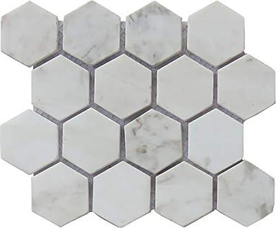 Intrend Tile NS020-B-sample Natural White Polished Carrara Stone Tile Sheet, Sample, Hexagon Mosaic