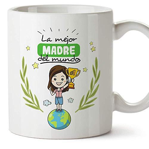 MUGFFINS Taza Mamá - La Mejor Madre del Mundo - Taza Desayuno Idea Regalo Día de la Madre y la abuela. Cerámica 350 mL