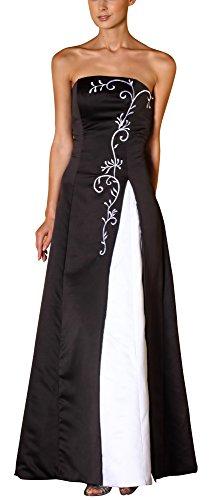 Romantic-Fashion Damen Ballkleid Abendkleid Brautkleid Lang Modell E558 Zweifarbig Stickerei DE Schwarz Größe 50