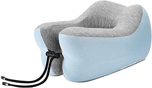 NCRD Almohada de Viaje, Memoria en Forma de U 360 ° Cuello de Espuma Cuello de Almohada Soporte de Cabeza Suave for Descanso for Dormir, Aeroplano Coche y Uso en el hogar (Color : Low Blue)