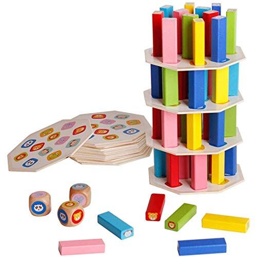 Nwihac Juego de 54 Bloques de construcción de Madera, Juguetes de Animales, arcoíris de Colores, Torres apilables, Juegos de Mesa creativos para niños
