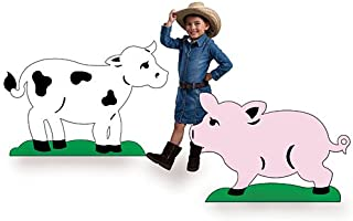 3 ft. 6 in. Farm Barnyard Cute Cow & Pig Standees Standup Photo Booth Prop Background Backdrop Party Decoration Decor Scene Setter Cardboard Cutout