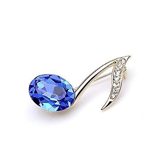 Creativo en Forma de Nota Musical Broche Fancy Rhinestone aleación símbolo de música Broche (Azul)